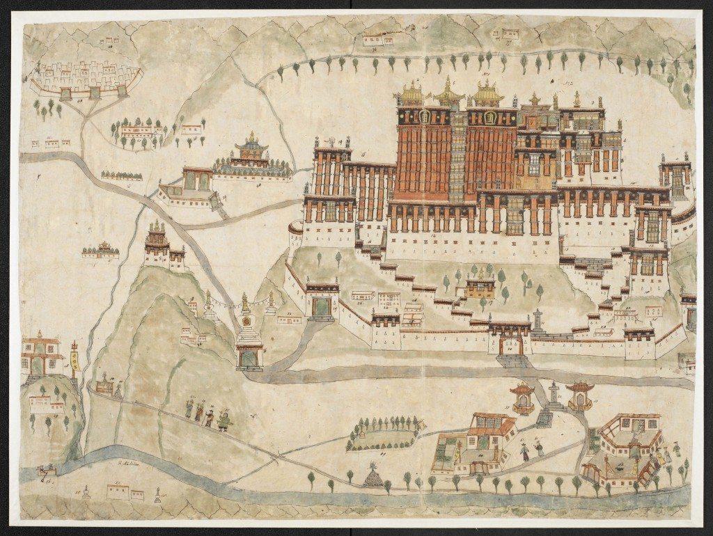 Potala Palace, Tibet, Watercolor c. 1860